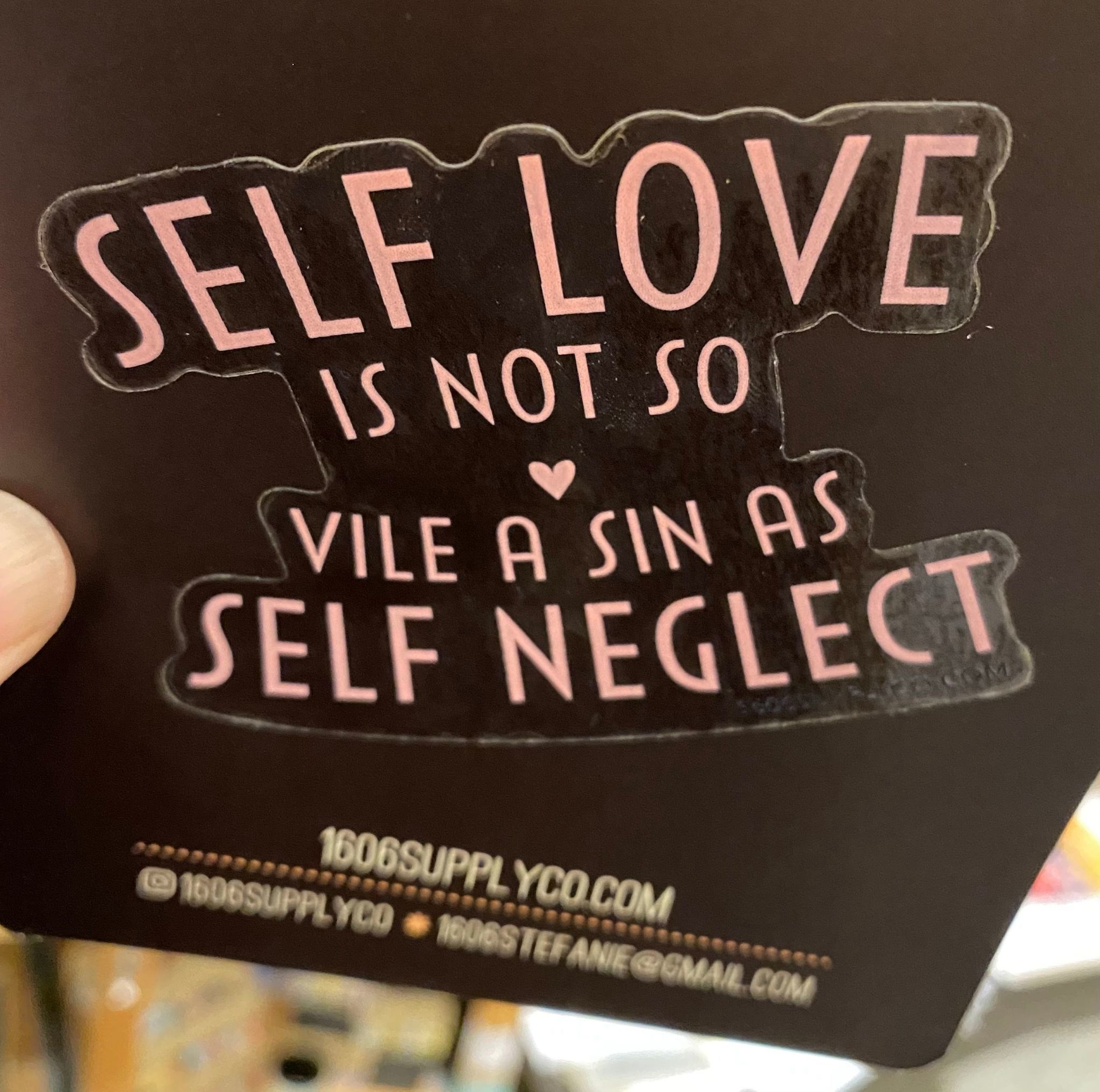 1606 // Sunset Avenue Ceramic Self Love / Self Neglect Sticker