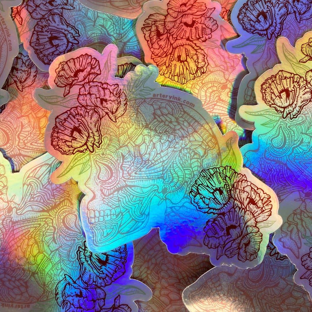 Artery Ink Skull & Flowers Hologram Sticker