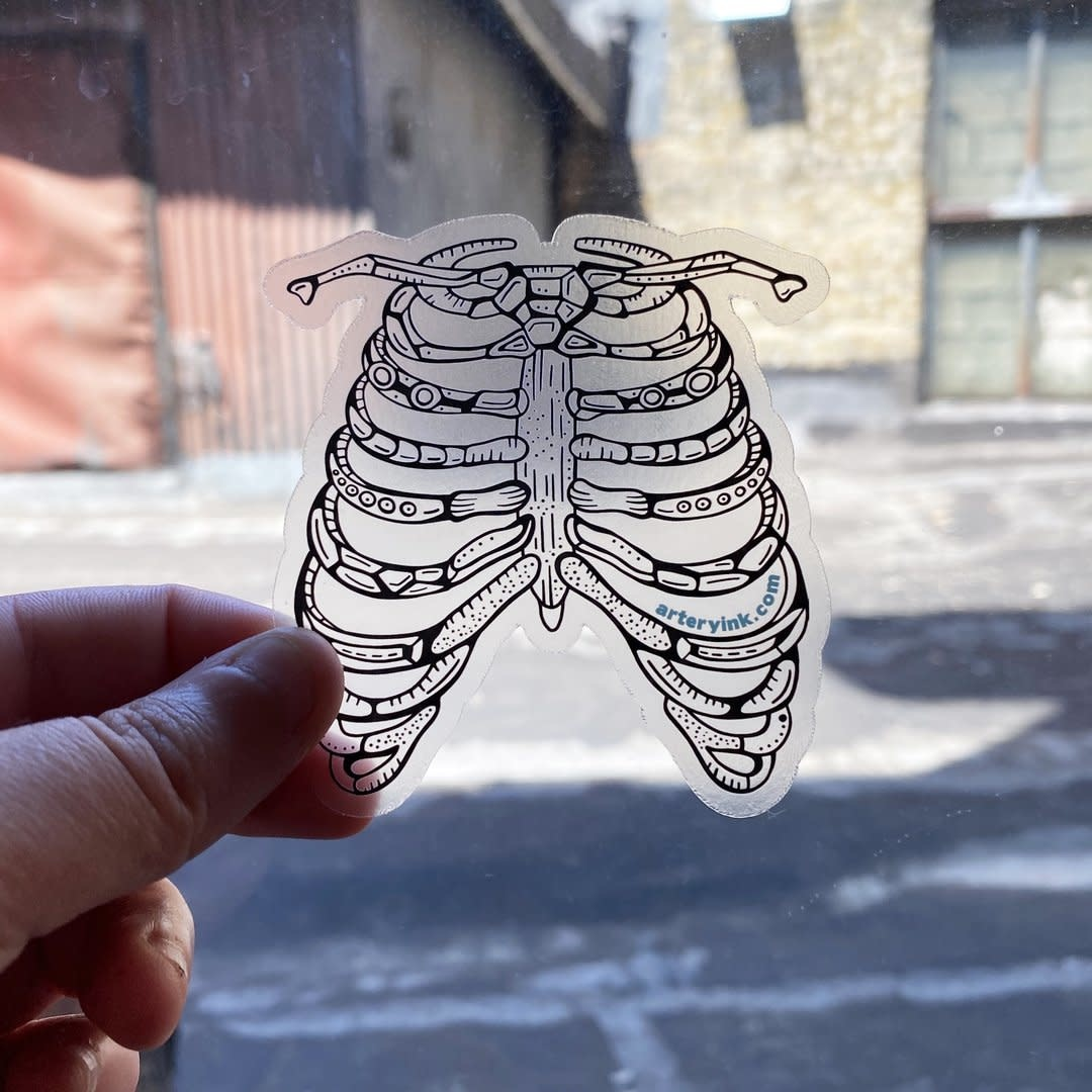 Artery Ink Ribcage Vinyl Clear Sticker