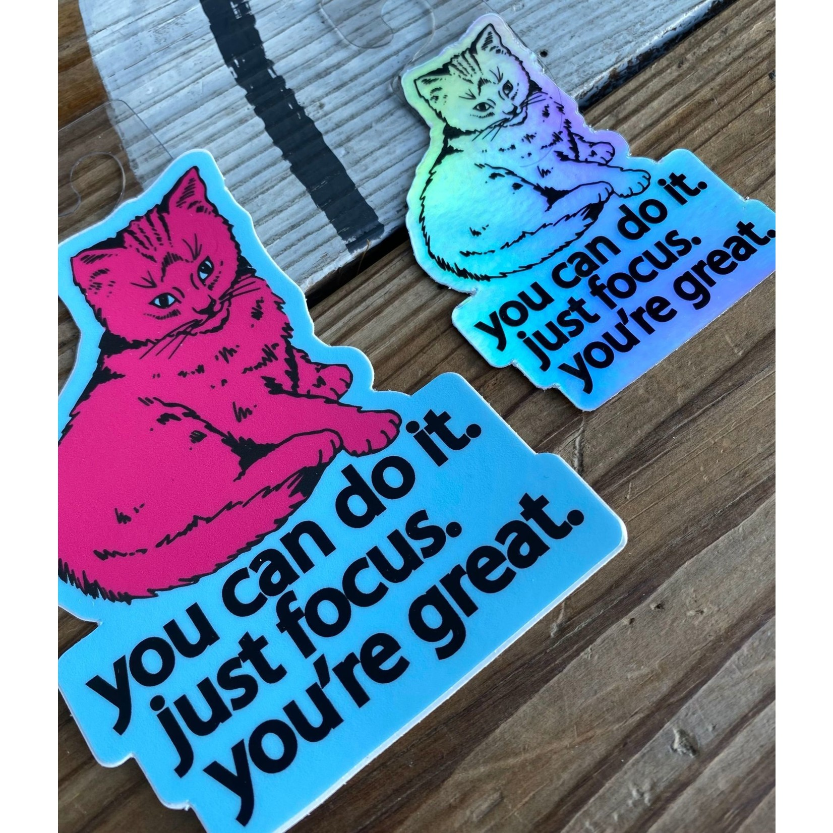 BadKneesTs Focus Doing Great Cat Sticker