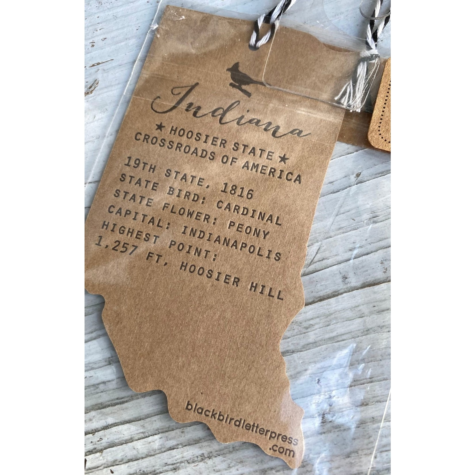 Blackbird Letterpress Indiana Gift Tag
