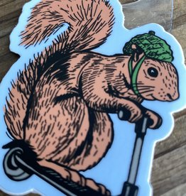BadKneesTs Squirrel On A Bird Sticker