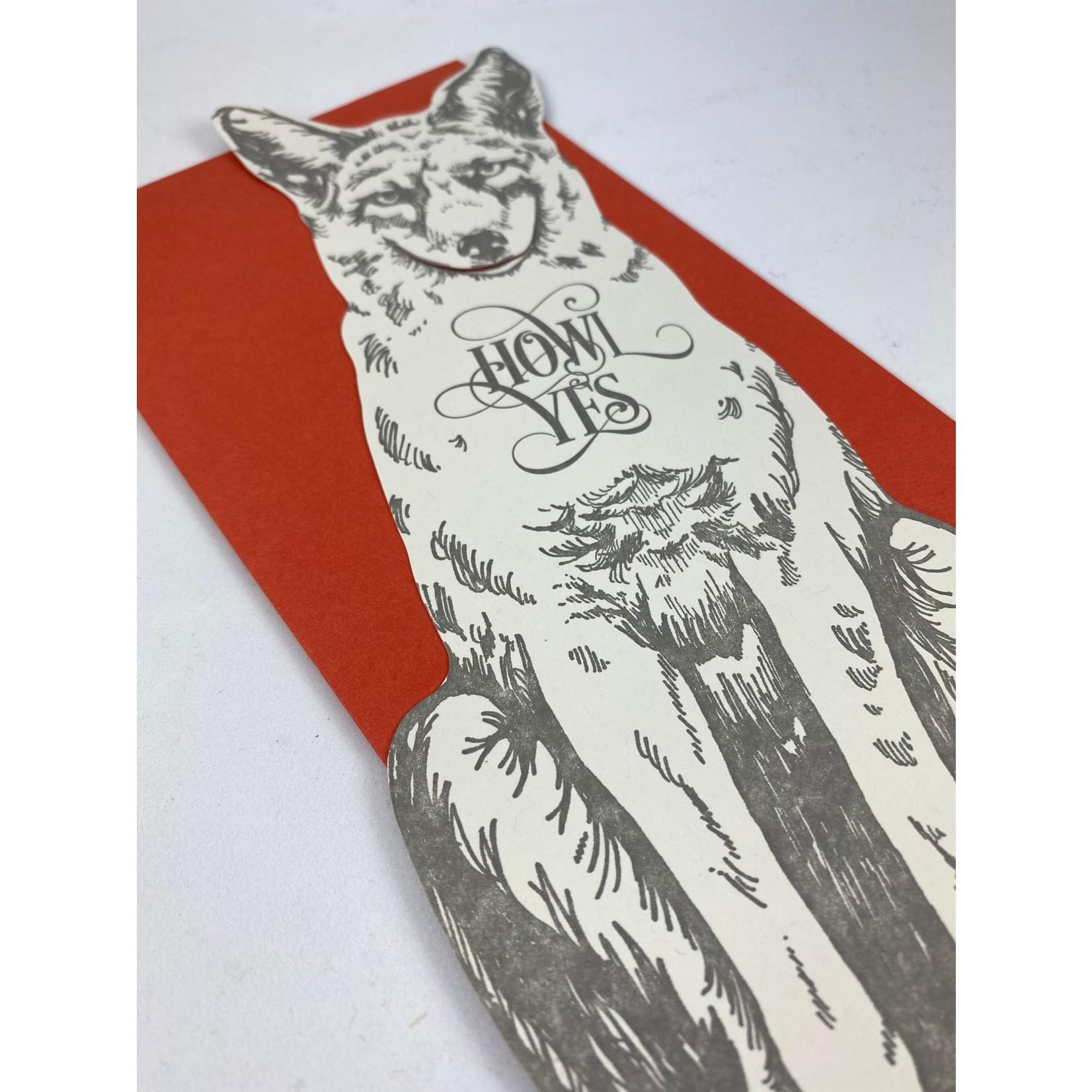 Blackbird Letterpress Howl Yes Grey Fox Gift Greeting Card