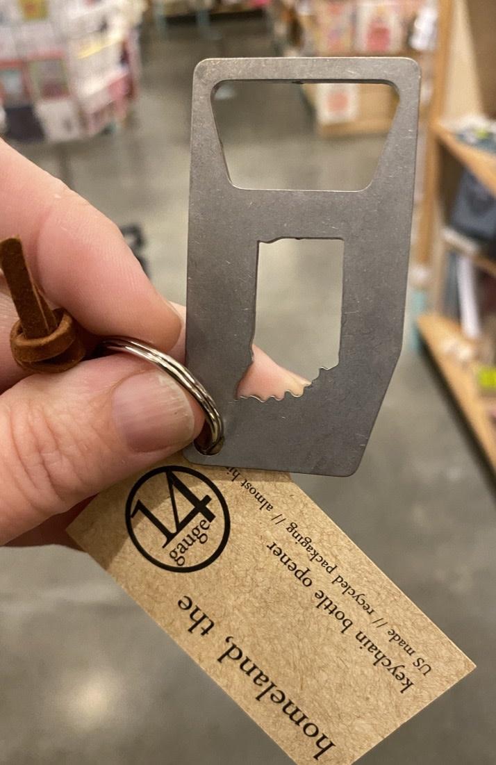 14 Gauge Indiana Keychain Bottle Opener