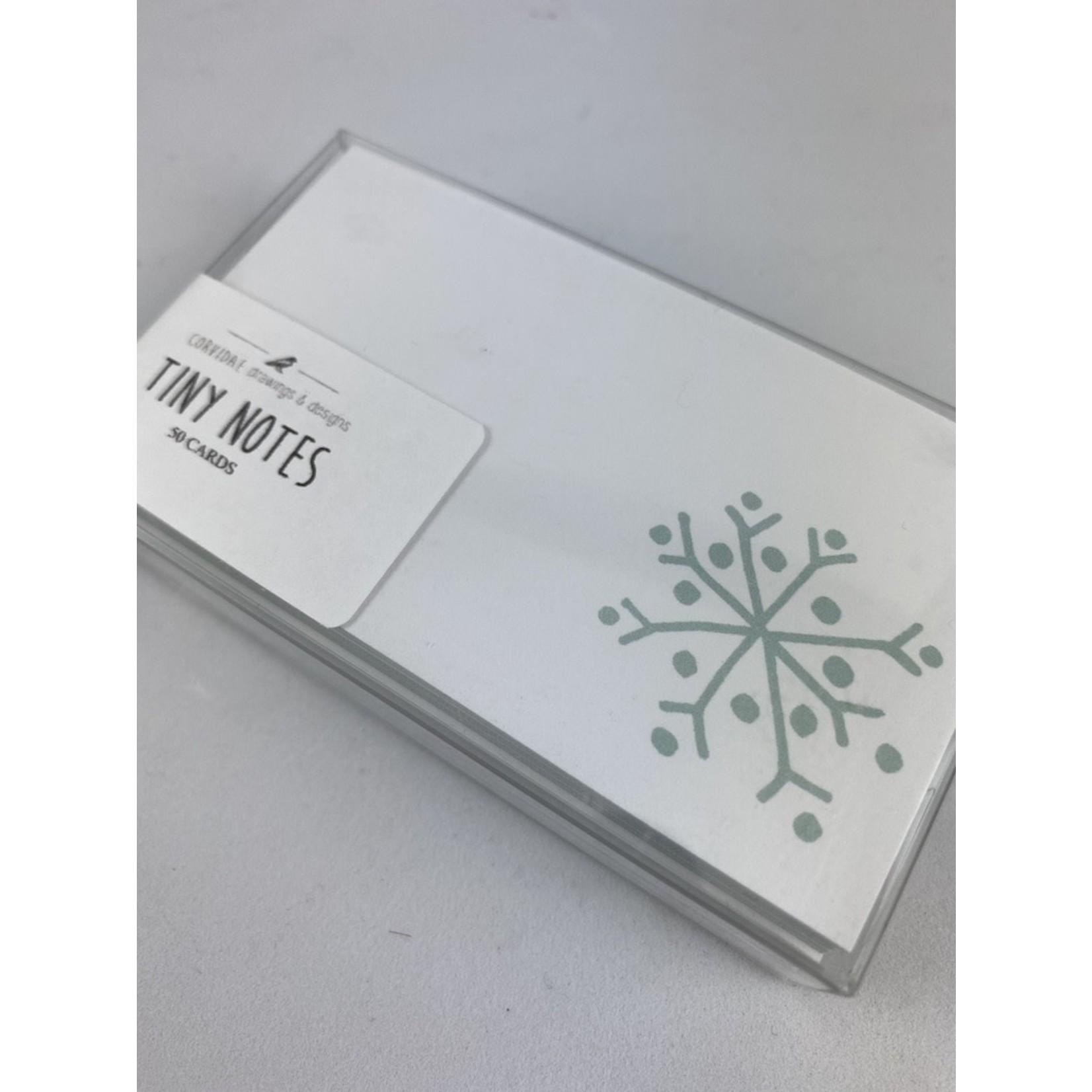 Corvidae Drawings & Designs Snowflake Tiny Notecard Set
