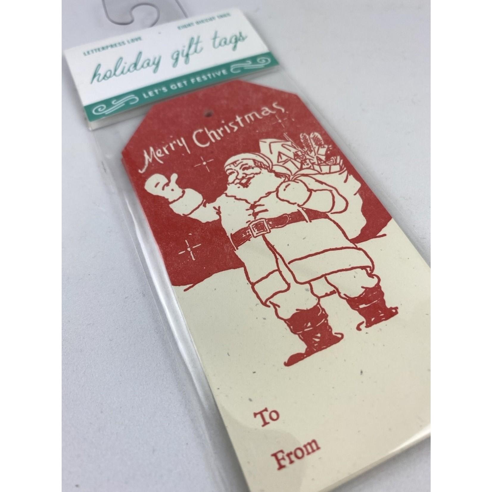 Igloo Letterpress Vintage Santa Gift Tag Set Of 8