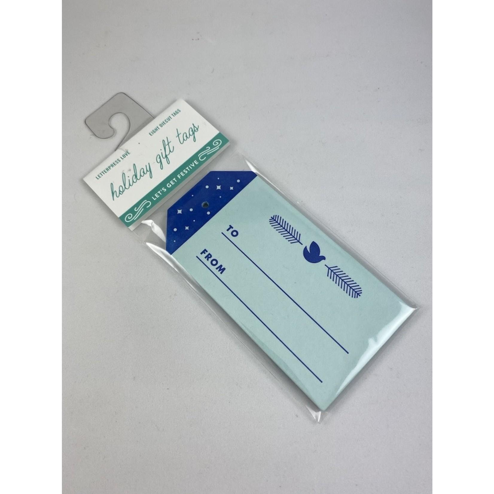Igloo Letterpress Blue Dove Gift Tag Set Of 8