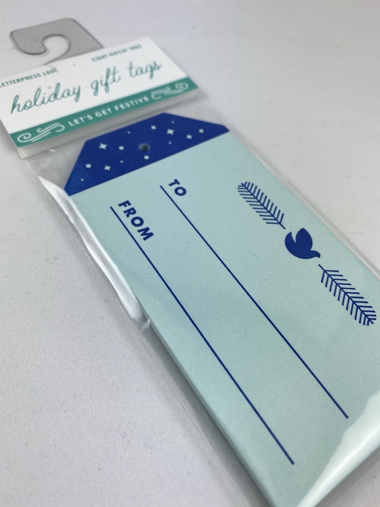 Igloo Letterpress Blue Dove Gift Tag Set Of 8