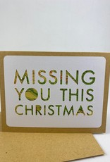 Type Shy Missing You Christmas Vintage Map Greeting Card