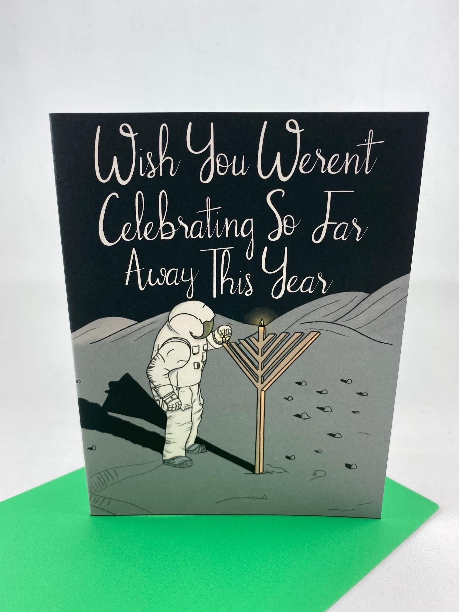 Greetings From Bergen Place / Jane's Tiny Things Astronaut Hanukkah Far Away Greeting Card