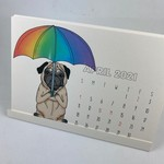 Greetings From Bergen Place Antisocial Pug 2021 Pop-Up Desk Calendar