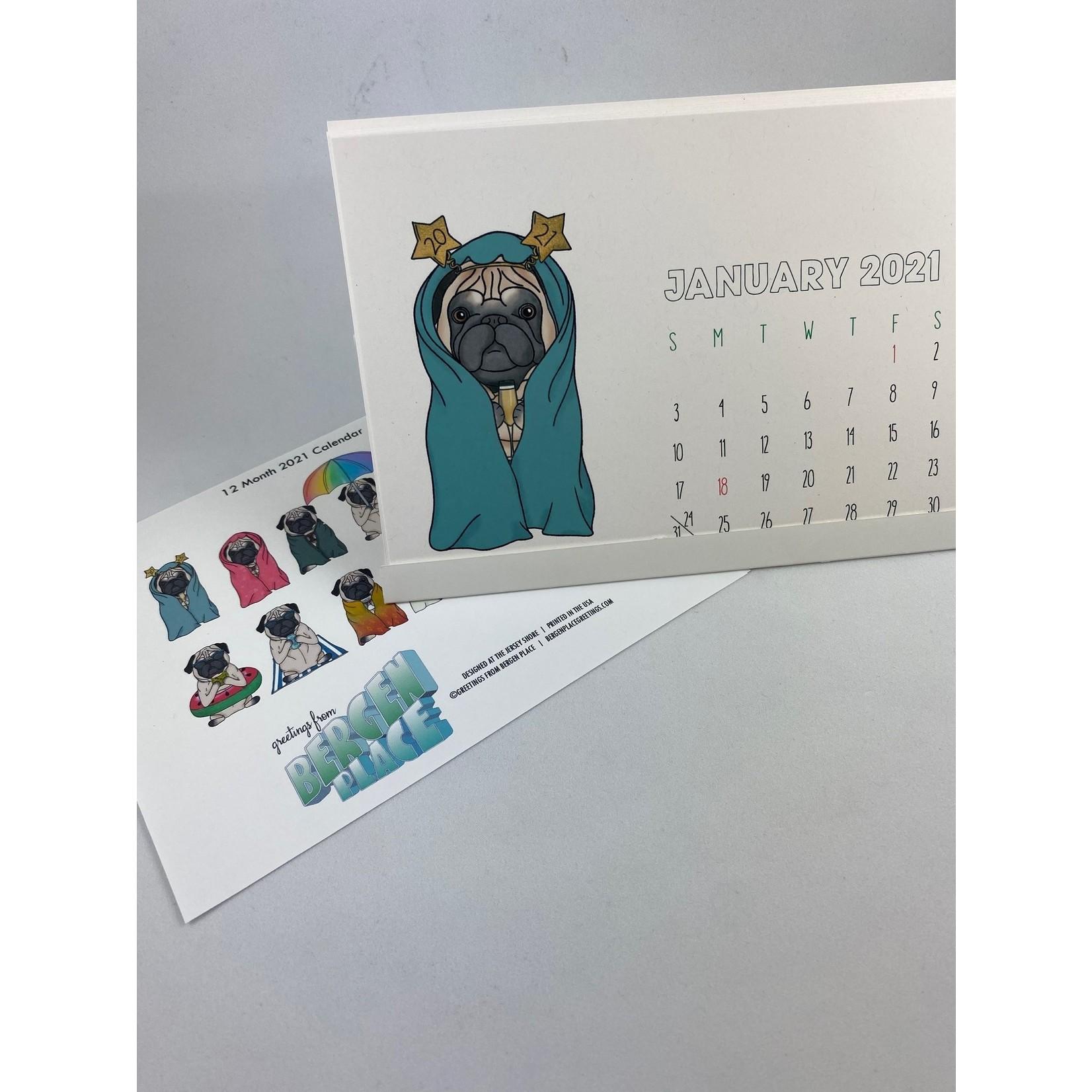 Greetings From Bergen Place Antisocial Pug 2021 Pop-Up Desk Calendar
