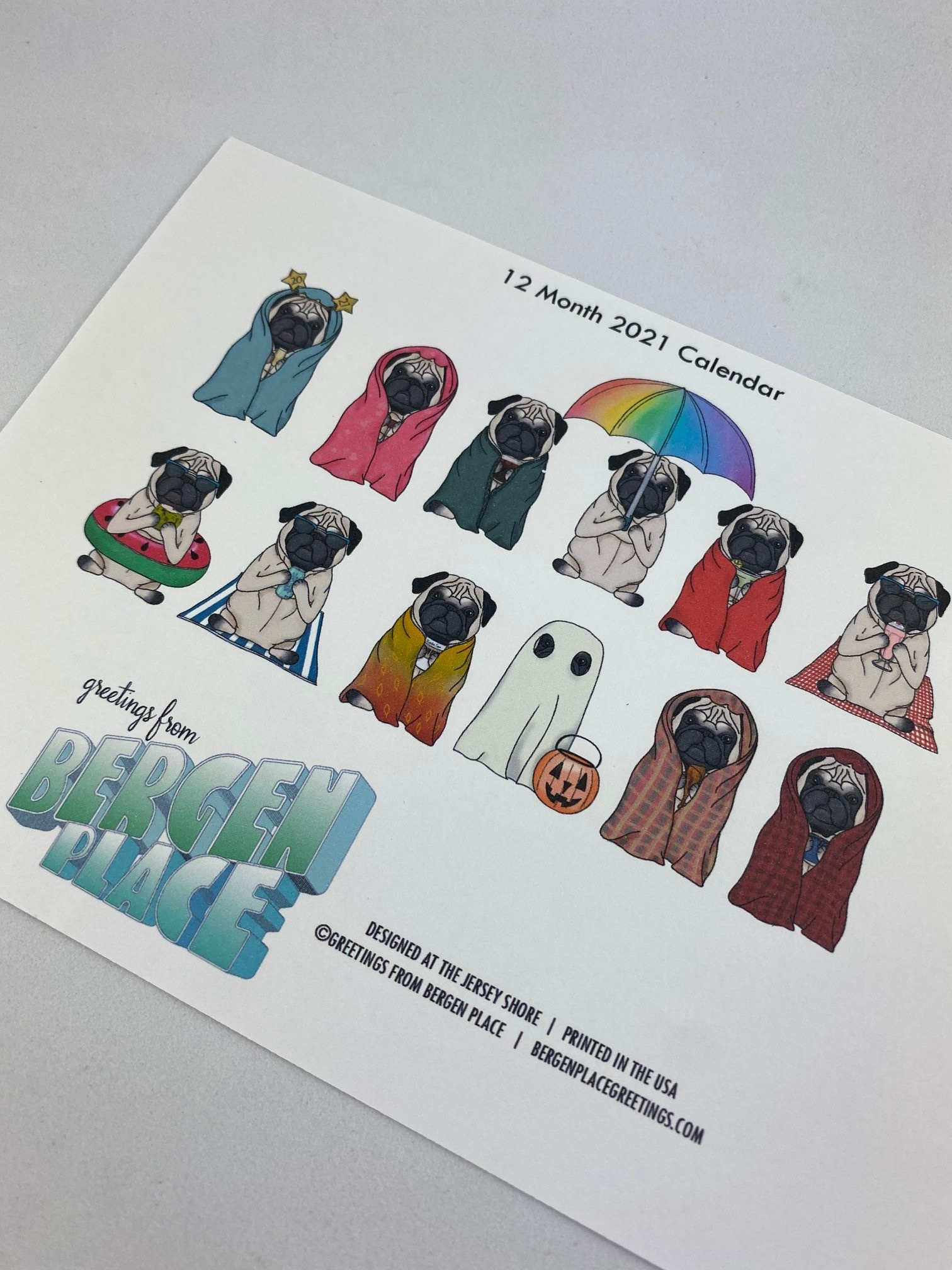 Greetings From Bergen Place / Jane's Tiny Things Antisocial Pug 2021 Pop-Up Desk Calendar