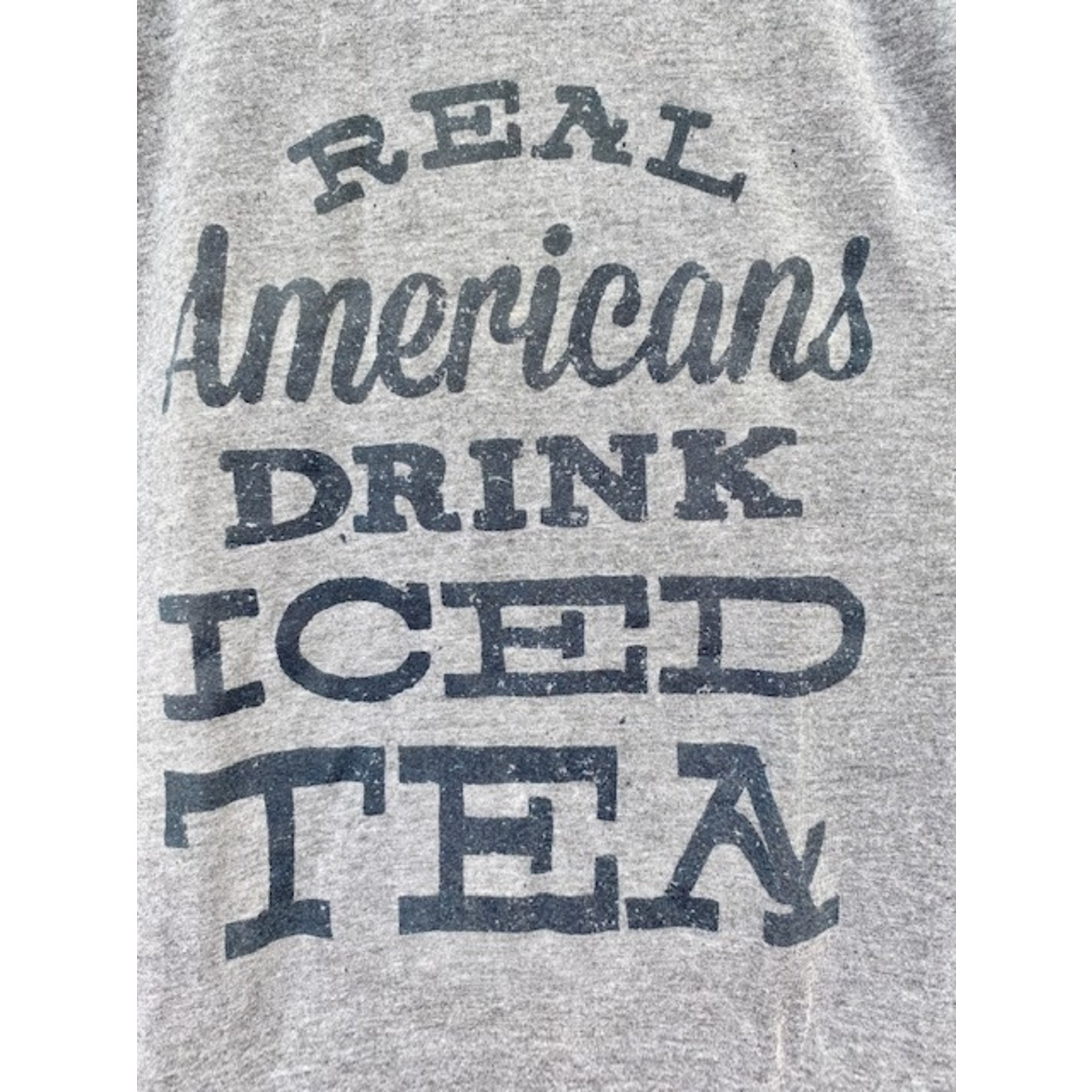 Black Dog Print Company Real Americans Drink Iced Tea Tee (Unisex Fit) Small