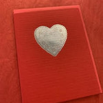 Big Wheel Press Heart Doilie Silver Foil Greeting Card