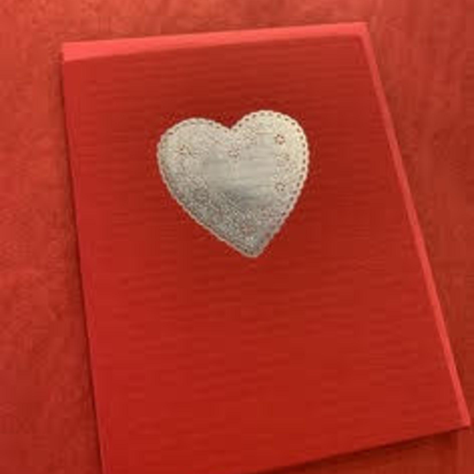 Big Wheel Press Heart Doilie Silver Foil Greeting Card