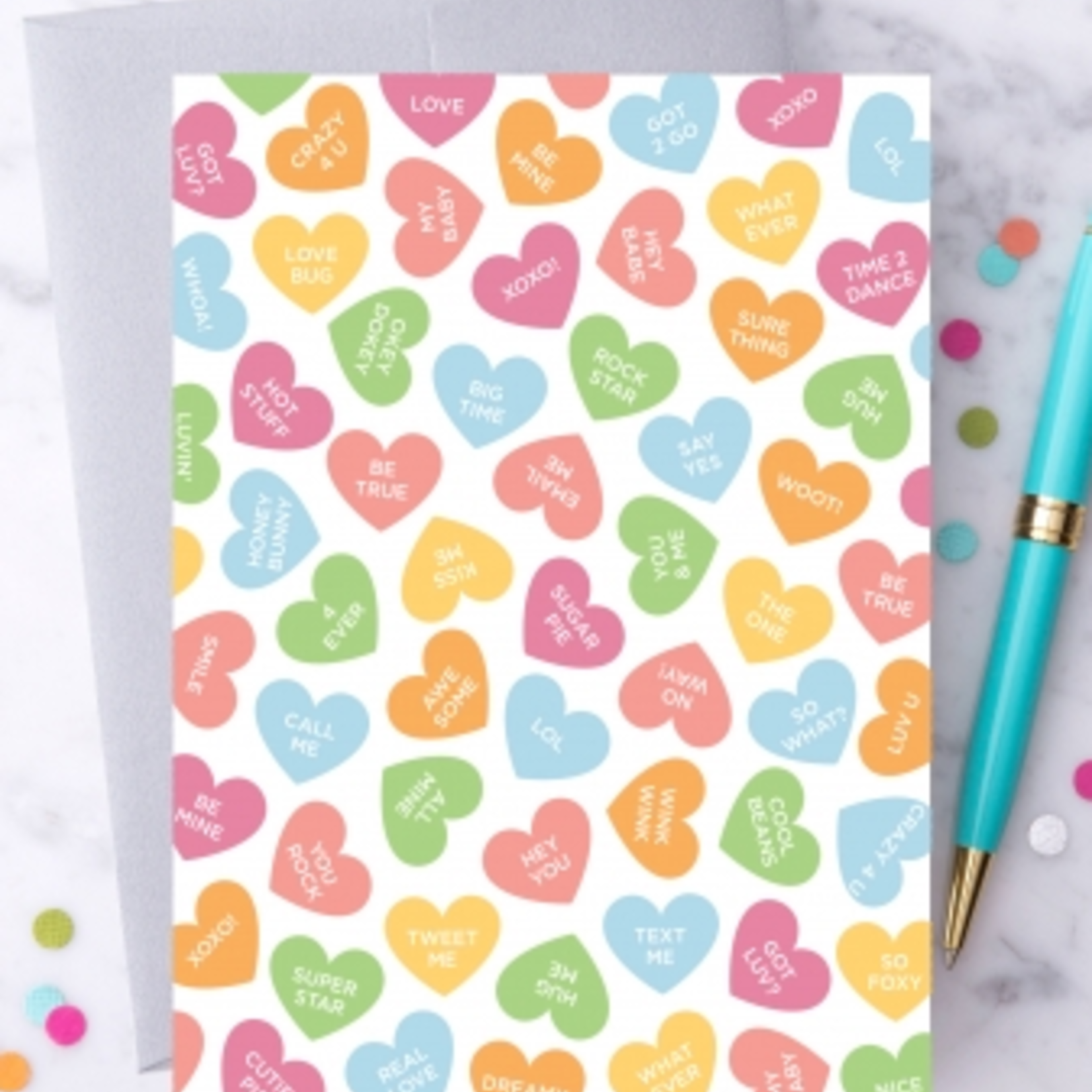 Design With Heart Colorful Candy Hearts Greeting Card