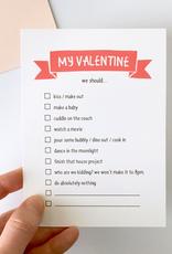 Haven Paperie My Valentine Checklist Notecard