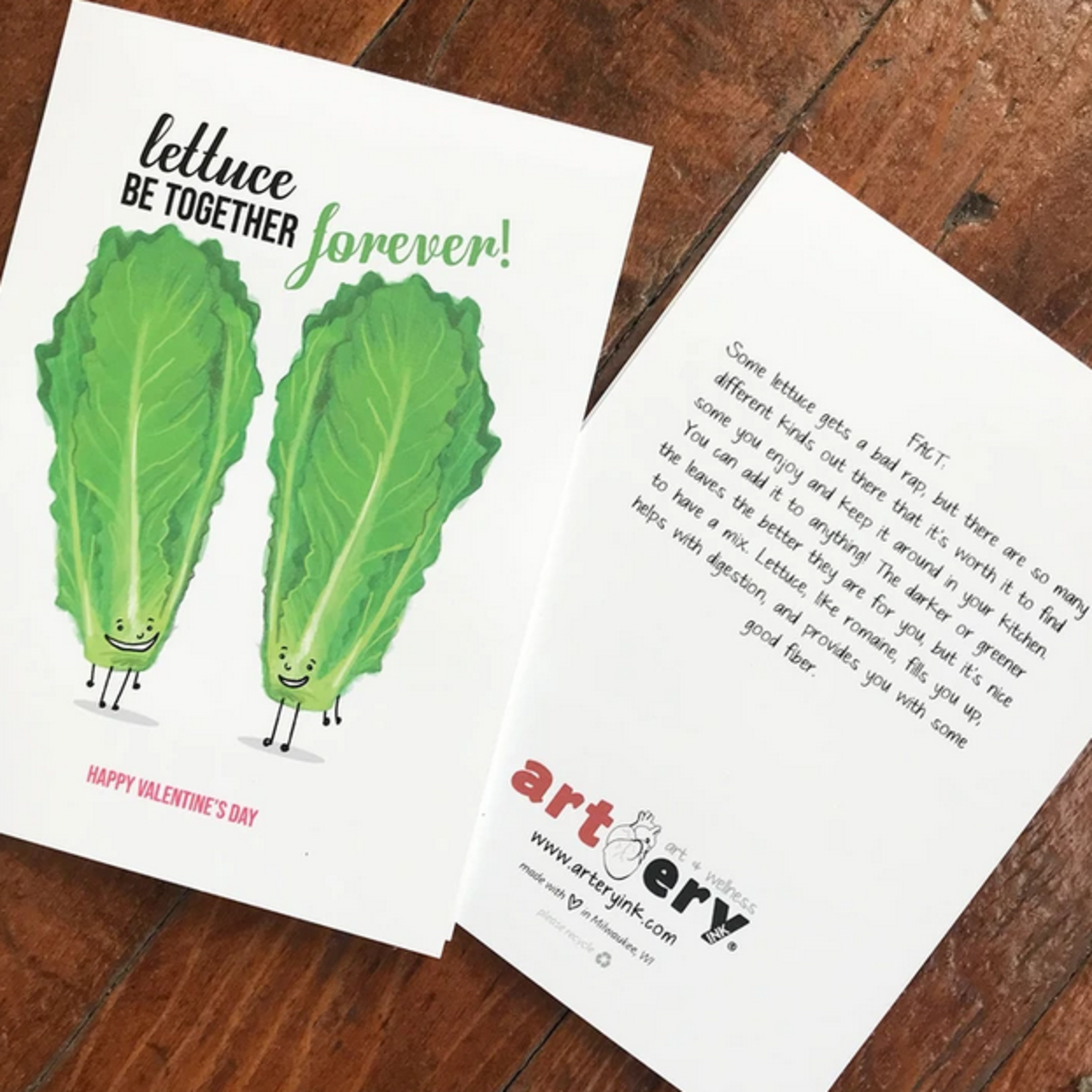 Artery Ink Lettuce Be Together Valentine Greeting Card