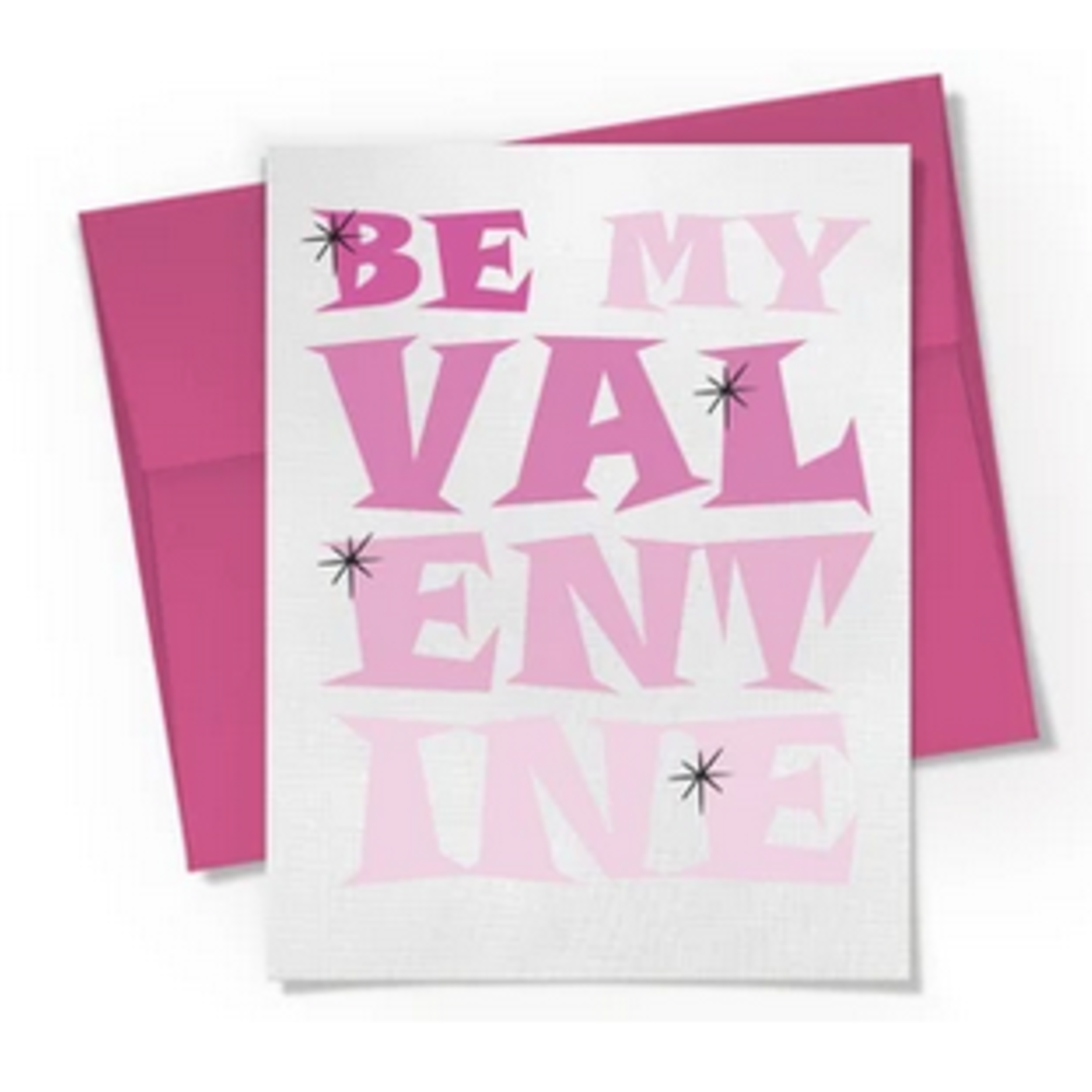 Beckamade Pink Block Letters Be My Valentine Greeting Card