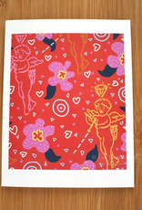 Kate Brennan Hall Illustration + Printmaking Valentine's Cupid Greeting Card