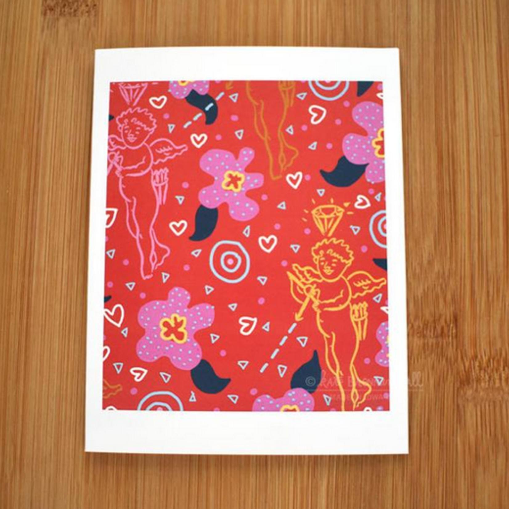 Kate Brennan Hall Illustration + Printmaking Valentine's Cupid Greeting Card