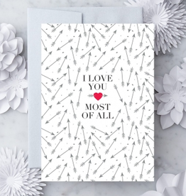 Design With Heart Arrows Love You Most of All Greeting Card