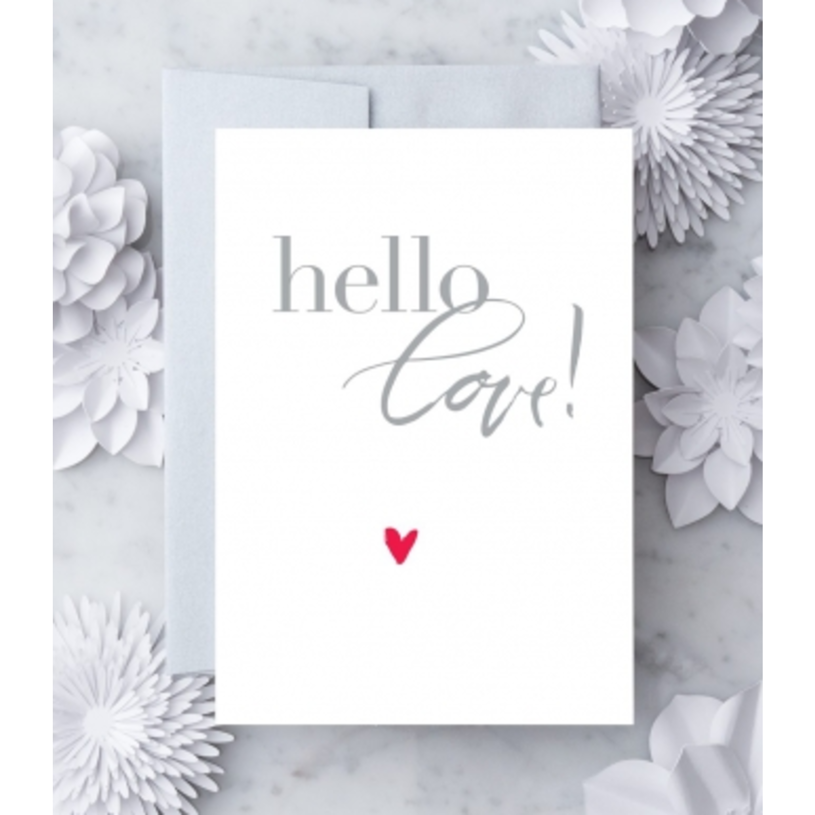 Design With Heart (QO) Hello, Love Red Heart Greeting Card