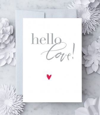 Design With Heart Hello, Love Red Heart Greeting Card