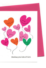An Open Sketchbook Lots Of Love Balloon Hearts Greeting Card