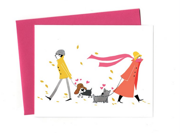 An Open Sketchbook Love At First Sight Dogs Greeting Card