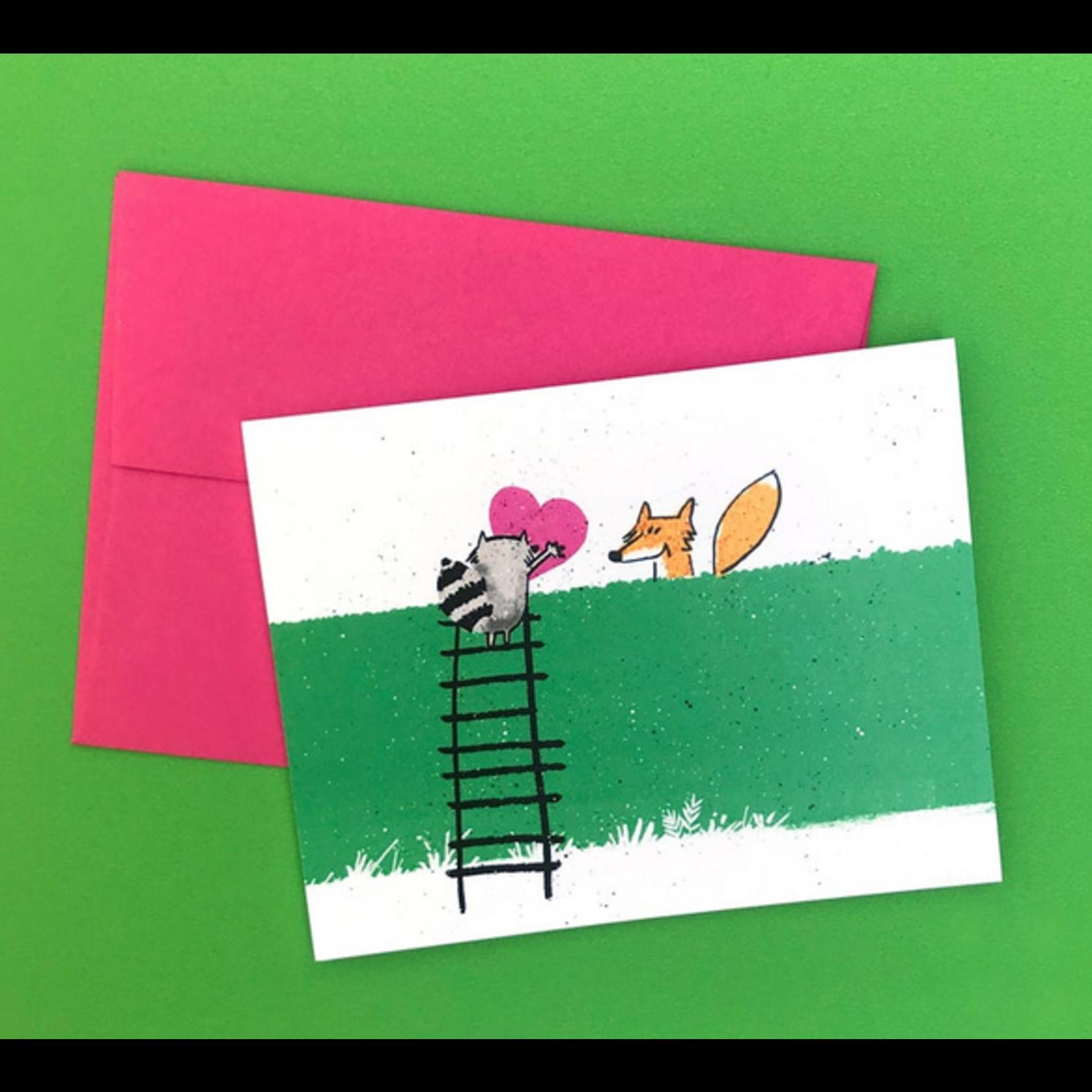 An Open Sketchbook Raccoon & Fox Love Greeting Card