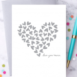 Design With Heart Love You More Silver Hearts Greeting Card