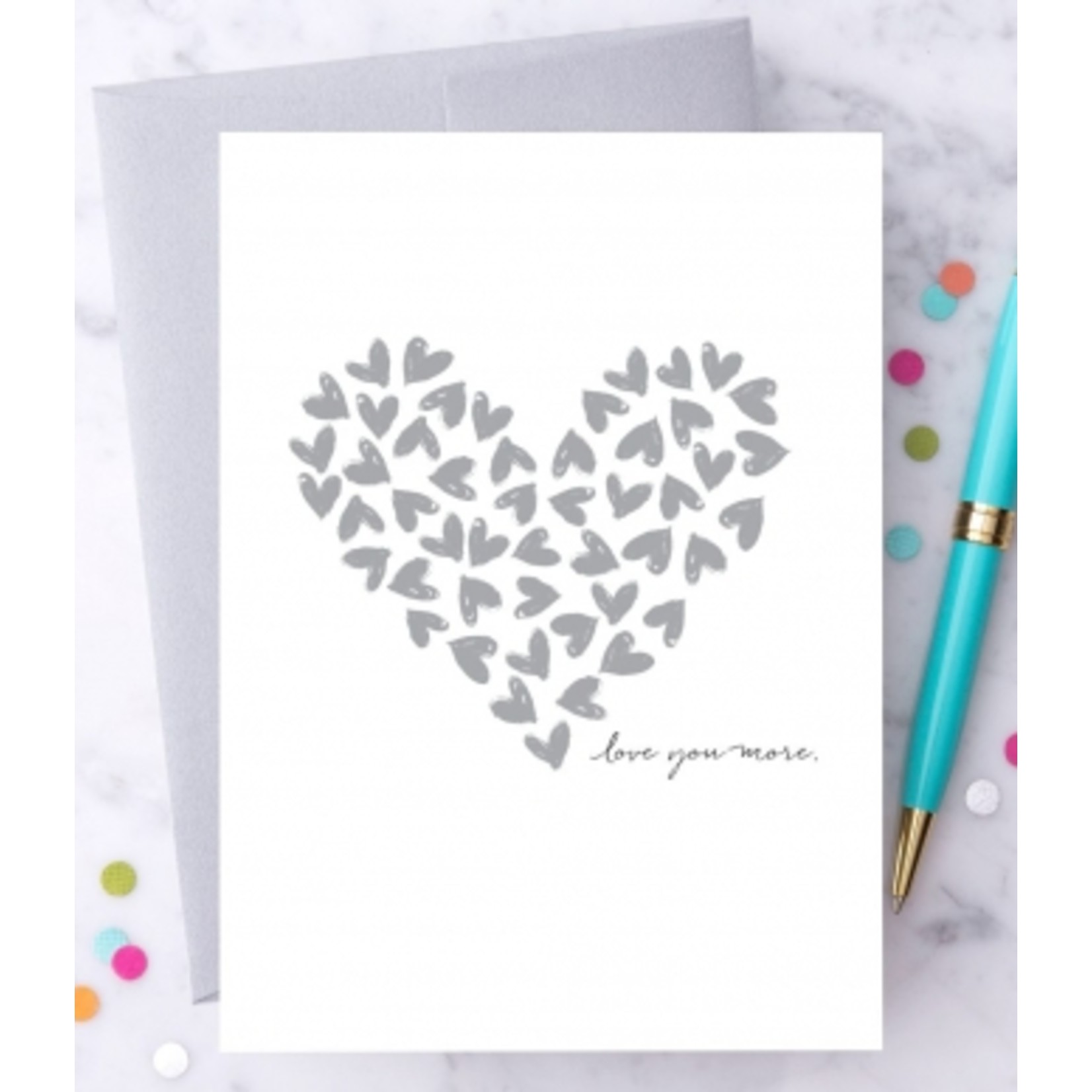 Design With Heart (QO) Love You More Silver Hearts Greeting Card