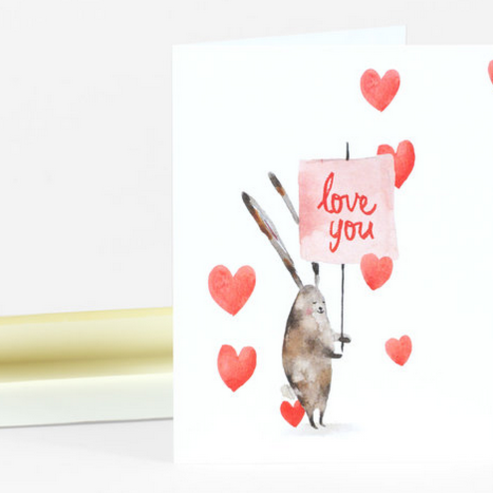 Loose Leaves Paper Goods Bunny Love You Sign Greeting Card