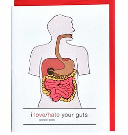 Cracked Designs Love/Hate Guts Intestines Greeting Card