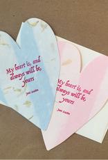 Big Wheel Press Austen Blue Heart Greeting Card