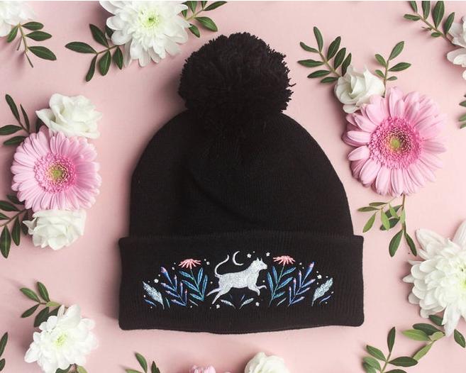Papio Press Embroidered Animal Beanie Hat