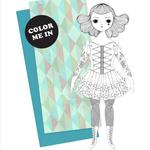 Of Unusual Kind Amelia Coloring Paper Doll Card + Envelope