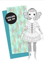 Of Unusual Kind Amelia Coloring Paper Doll Card + Envelope