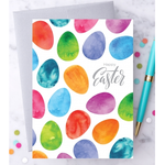 Design With Heart Happy Easter Watercolor Eggs Greeting Card