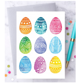 Design With Heart Decorated Easter Eggs Greeting Card