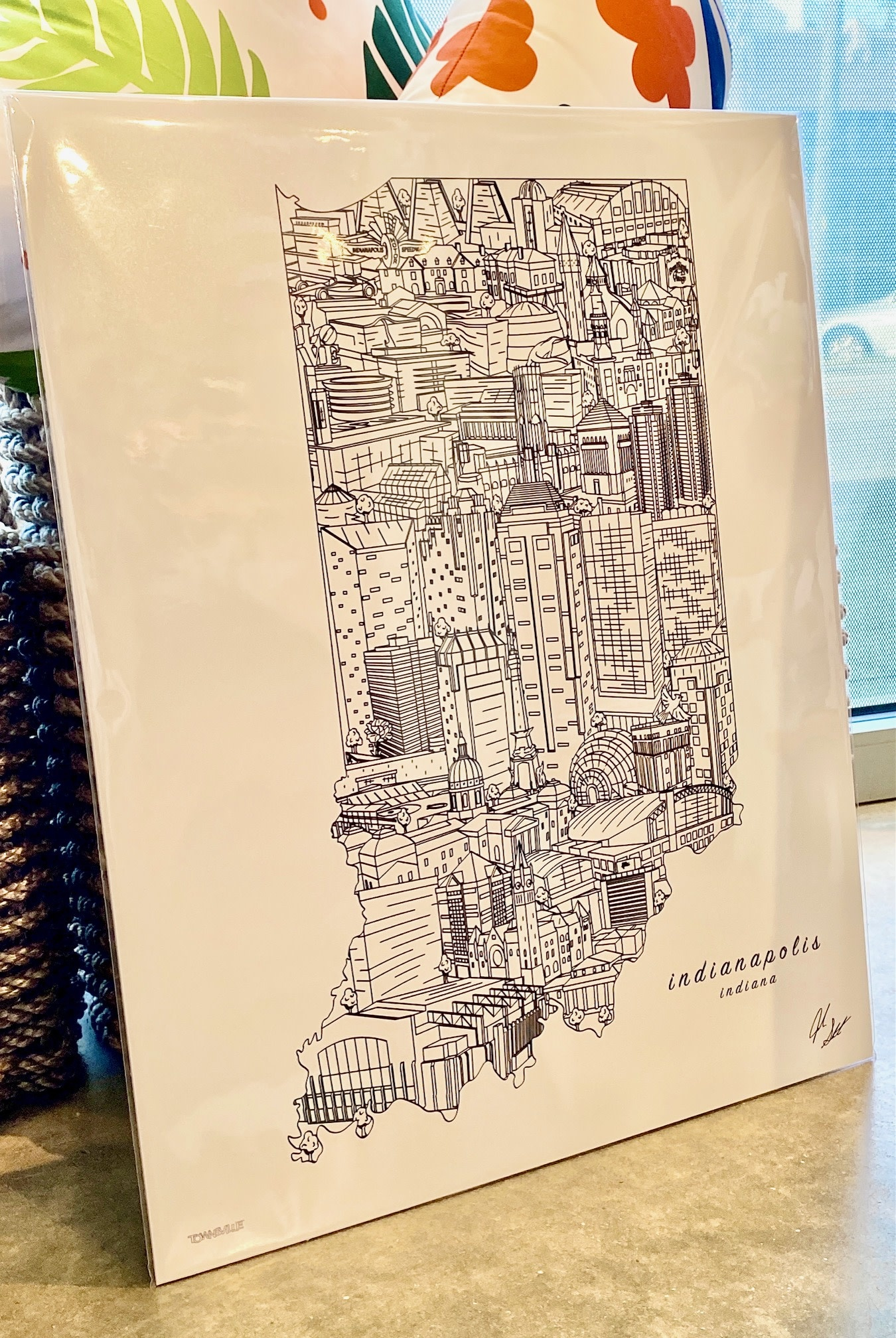 Townsville B&W: Indianapolis Landmarks 16x20 Art Print