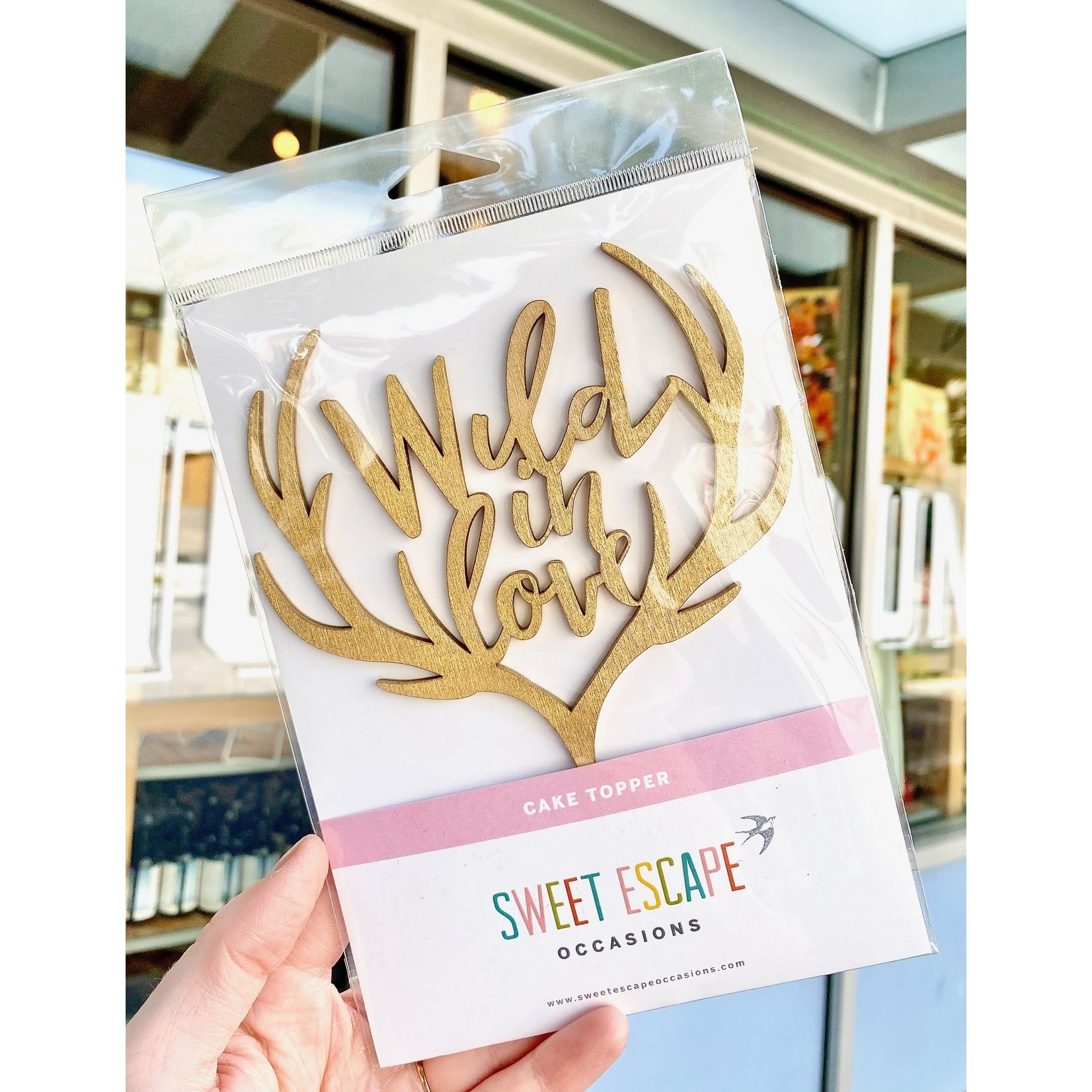Sweet Escape Occasions Gold-Painted Wood Cake Toppers
