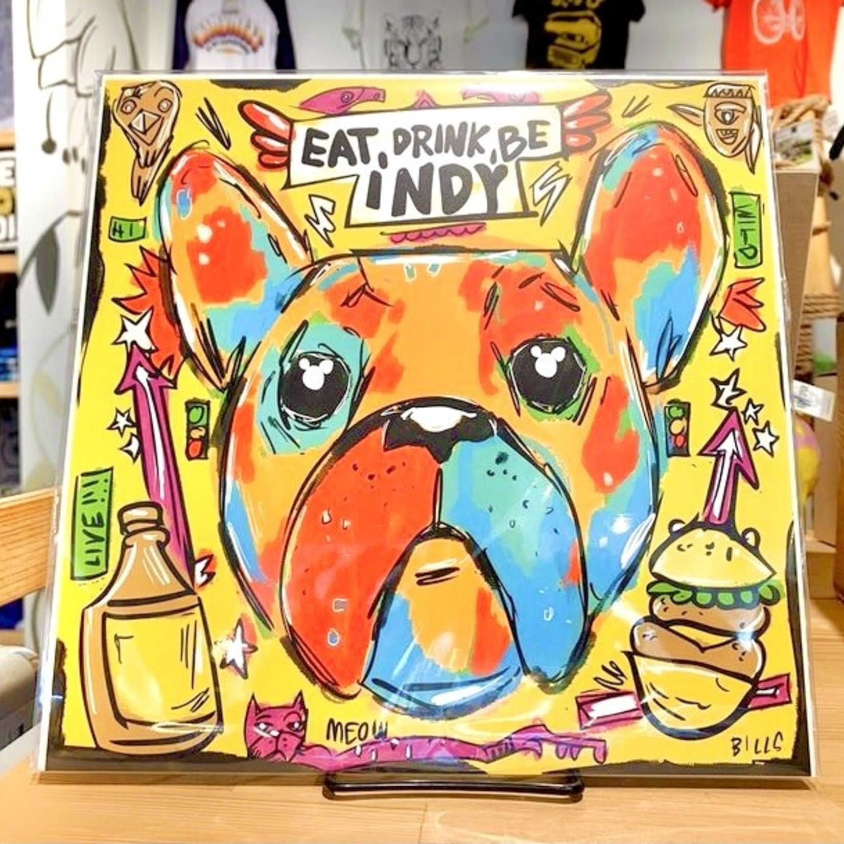 Eat, Drink, Be Indy French Bulldog 11x11 Art Print