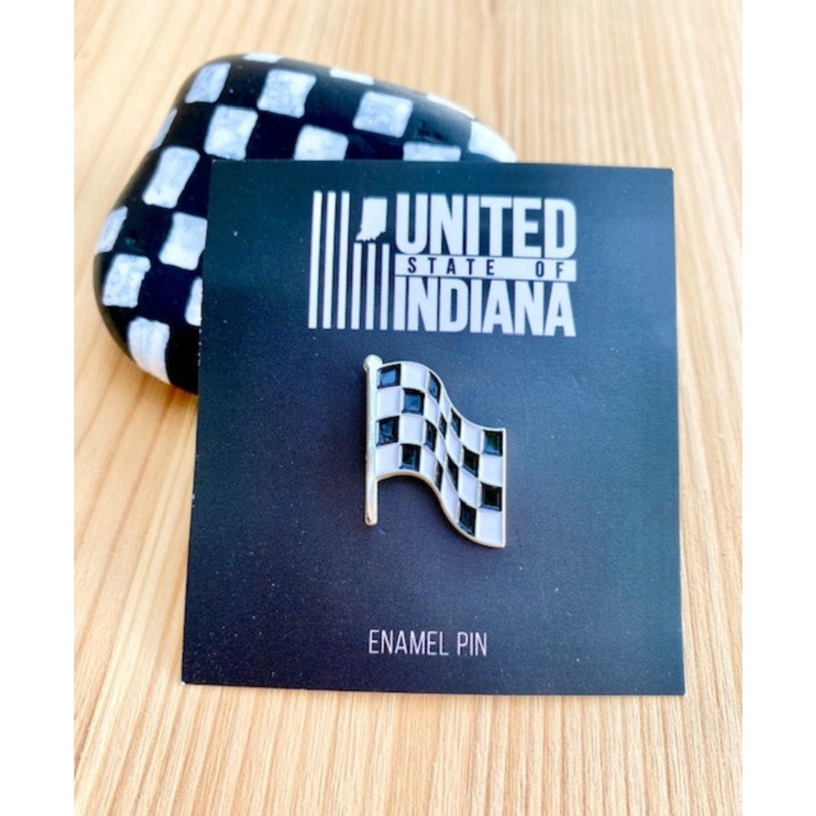 United State of Indiana Checkered Flag Indy 500 Enamel Pin