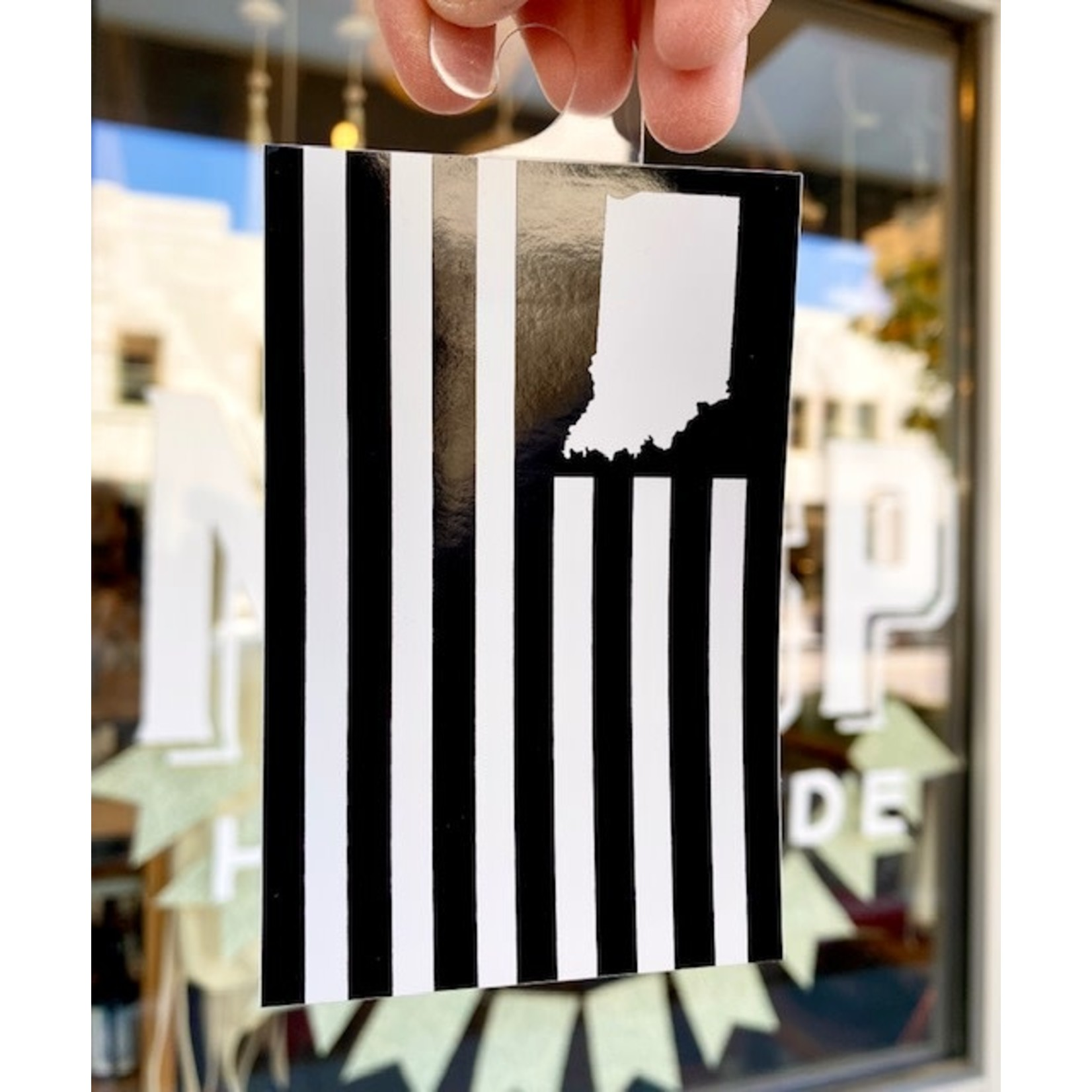 United State of Indiana USI Flag Black Sticker