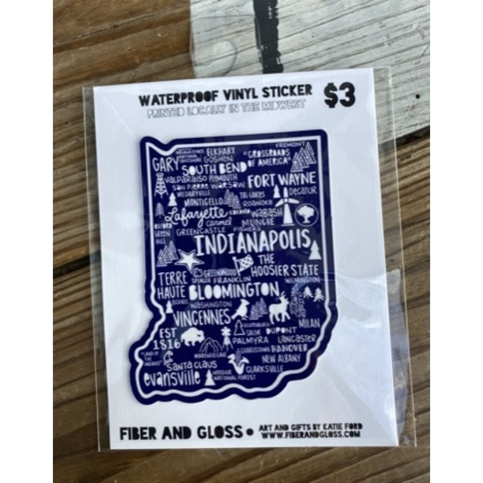 Fiber and Gloss Indiana Places Navy Vinyl Sticker