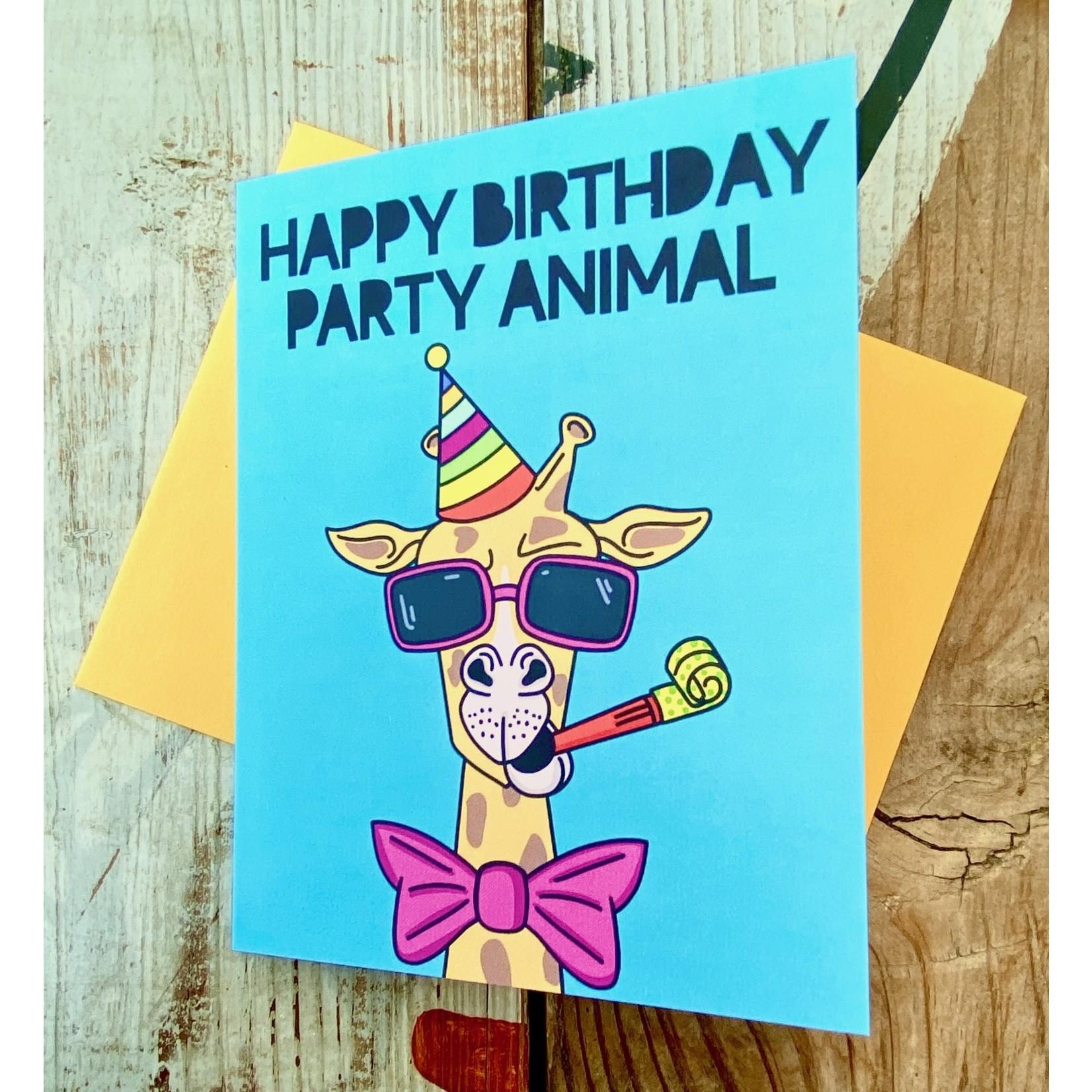 Fiber and Gloss Party Animal Giraffe Birthday Greeting Card