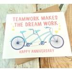 Fiber and Gloss Teamwork Dreamwork Bicycle Anniversary Greeting Card